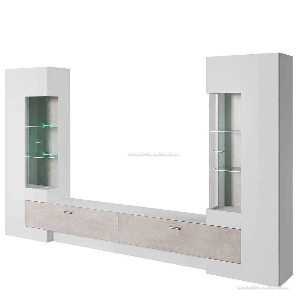 Гостиная Fossil Белый глянец/бетон