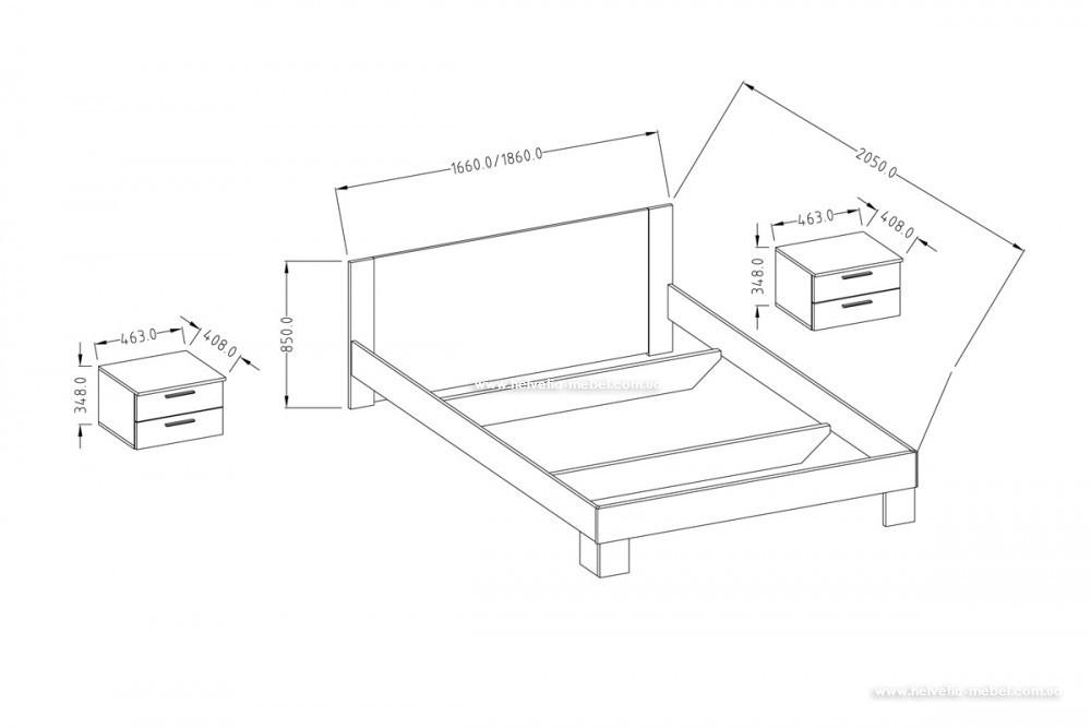 Кровать с тумбами 180*200 Vera 52