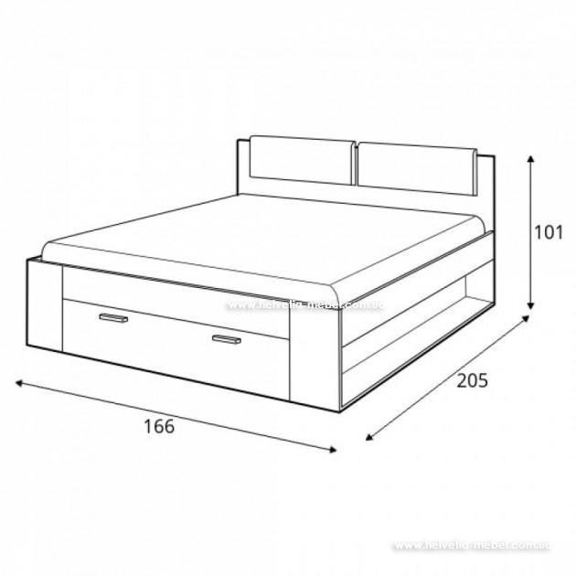 Кровать с ящиком Galaxy 140x200 Helvetia 50 дуб монастери