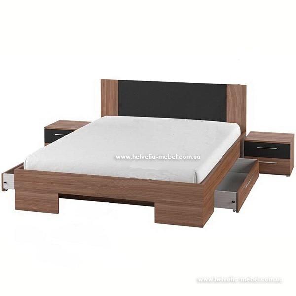 Кровать с тумбами и ящиками Vera 180*200 Helvetia 82 красный орех / черный