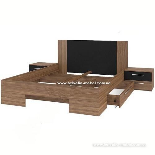 Кровать с тумбами и ящиками Vera 160*200 Helvetia 81 красный орех / черный