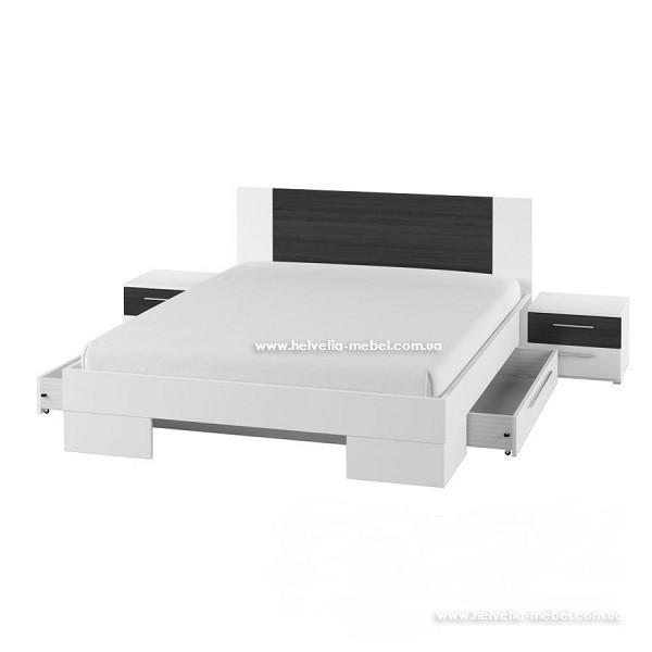 Кровать с тумбами и ящиками Vera 180*200 Helvetia 82 белый / черный орех
