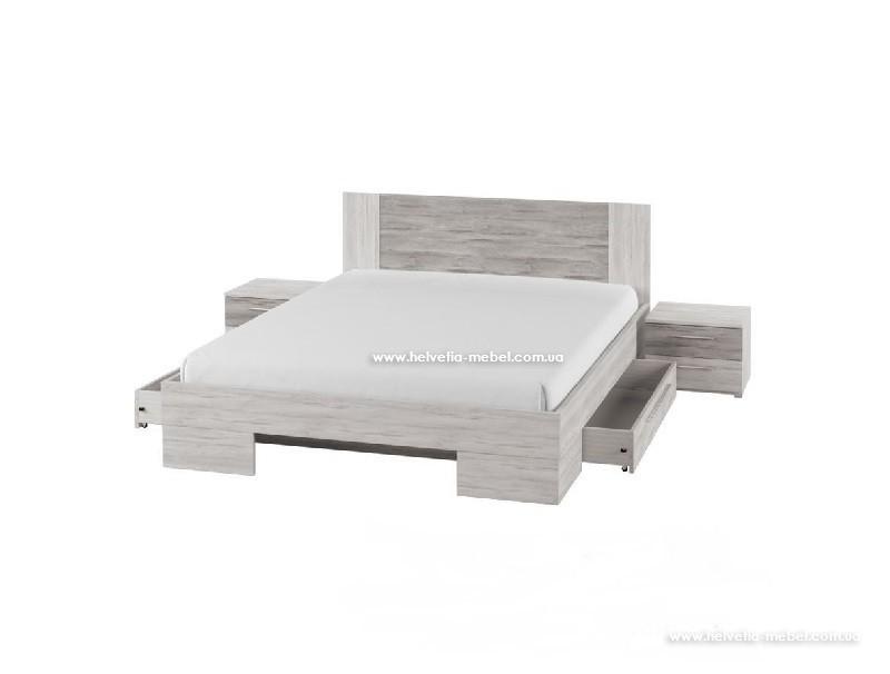 Кровать с тумбами и ящиками Vera 180*200 Helvetia 82 сосна каньон