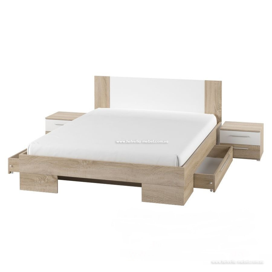 Кровать с тумбами и ящиками Vera 180*200 Helvetia 82 сонома светлая