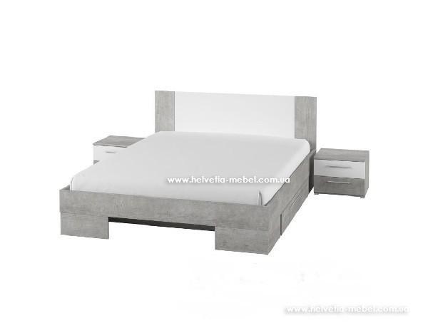 Кровать с тумбами и ящиками Vera 140*200 Helvetia 80 бетон колорадо