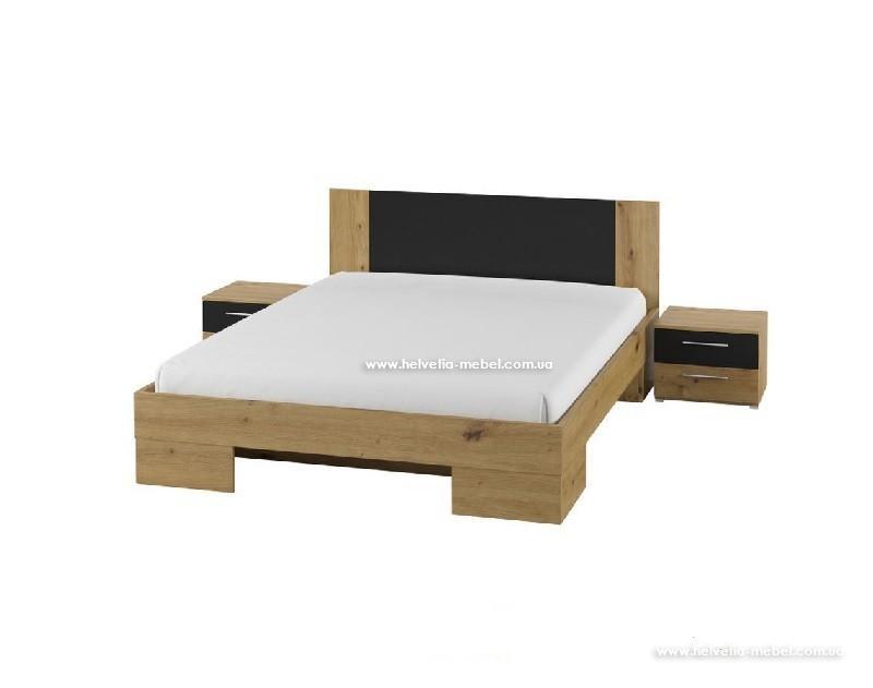 Кровать с тумбами Vera 180*200 Helvetia 52 дуб артисан/черный