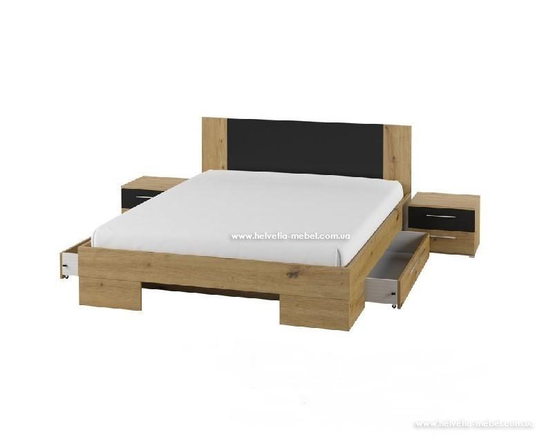 Кровать с тумбами и ящиками Vera 160*200 Helvetia 81 дуб артисан/черный