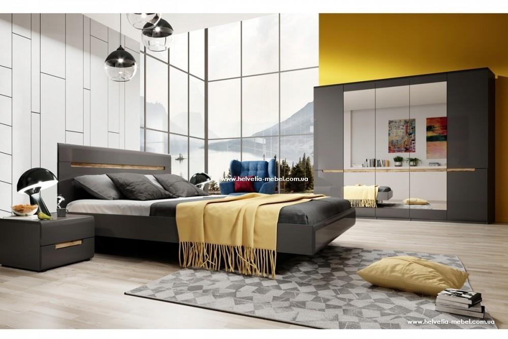 Комплект шкаф 5дв + кровать 180 + 2 прикроватные Hektor Helvetia графит