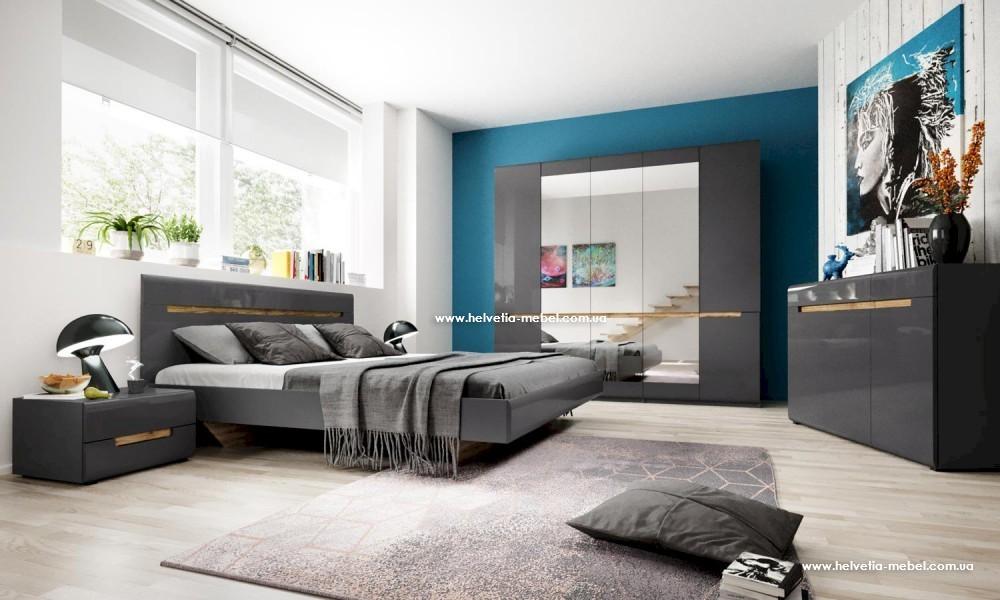 Кровать Hektor 160*200 Helvetia 31 графит